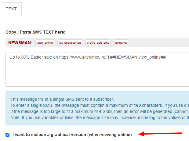 checkbox include graphical version for sms