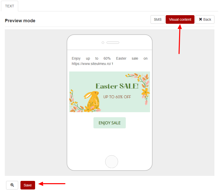preview and save visual sms content