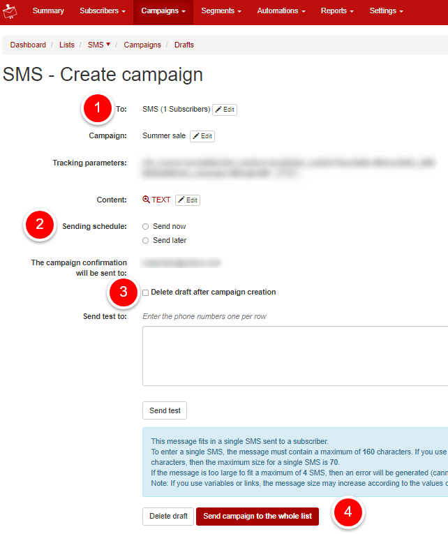 sending a sms campaign
