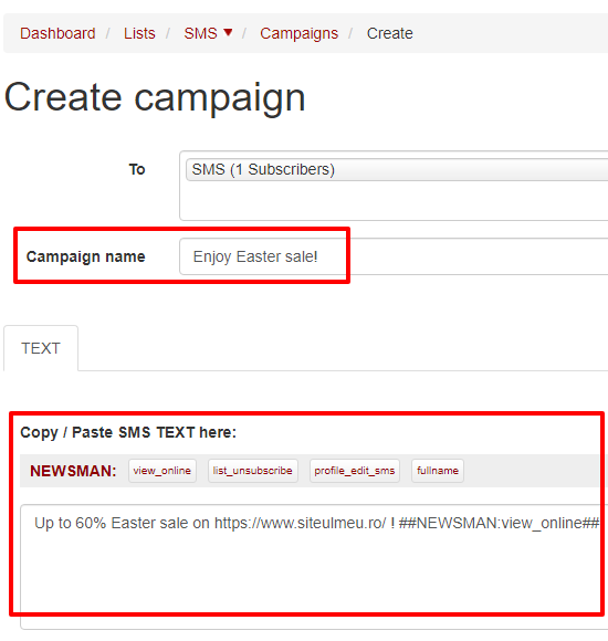 add campaign name and tetx